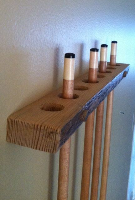 Rustic Red Pine Pool Cue Rack/Holder by AlongtheRidge on Etsy