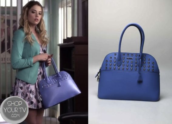 Hanna Marin Ashley Benson Carries This Periwinkle Studded Handbag In Week S Episode Of Pretty Little Liars It Is The Rebecca Minkoff An Bags