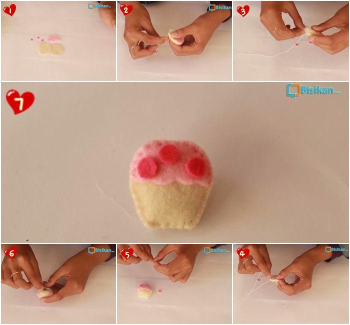 Cara Membuat Bros Cupcake Dari Kain Flanel