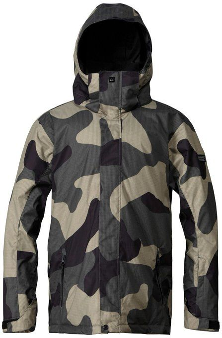 Quiksilver Mission Snowboard Jacket Macroflague Army Mens Sz L