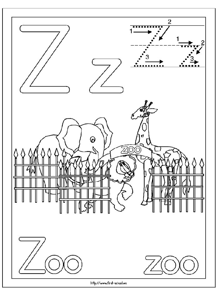 Letter Z is for Zoo coloring page  Free Printable