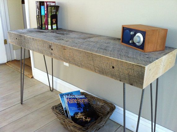 Weathered Barnwood Entry Table, Sofa Table Or Console Table With Hairpin  Legs.