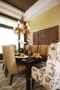 Our Sanctuary Panel is a serene addition to this sophisticated dining room.: Wall Art, Dining Rooms, Wall Decor, Carvings Wood, Wall Hanging, Blu Design, Dining Spaces, Wood Carvings, Grace Blu