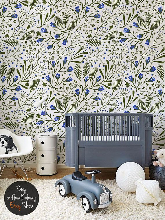 Green composition removable wallpaper || Spring Floral wallpaper || Wall mural || Small blue flowers decor #142