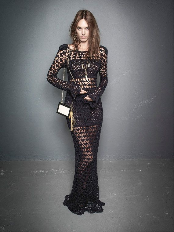 CROCHET FASHION TRENDS  exclusive black crochet por LecrochetArt, $670.00