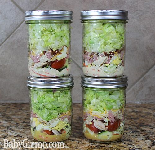 Ceasar and Chef salads in Ball jars recipes