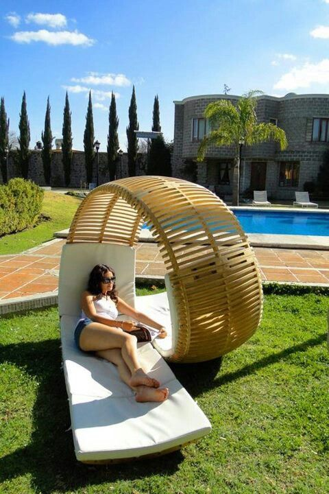 Backyard, poolside lounge chairs