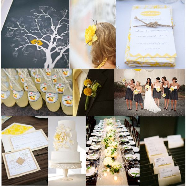 """slate grey & canary yellow wedding inspiration"" by eventsbyheatherham on Polyvore"