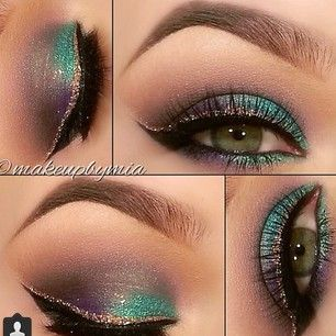 Deep purple & teal with double winged liner. Mardi Gras @meg