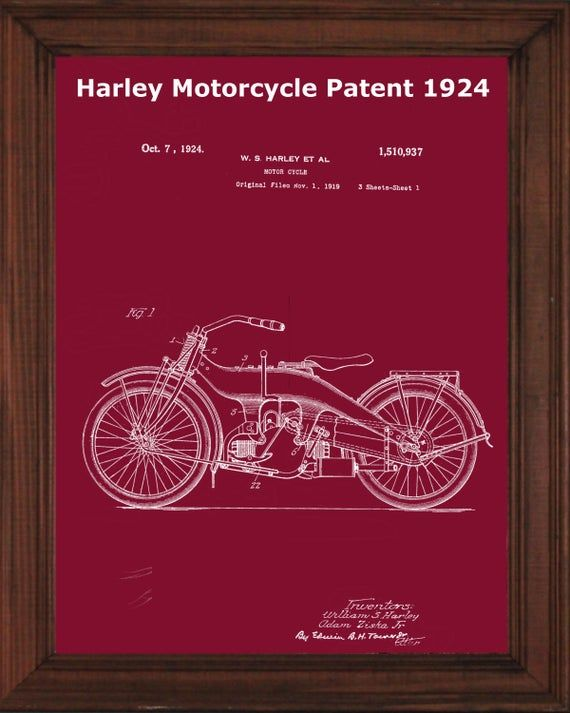 Harley Motorcycle Patent Print 1924 Harley Davidson Print Gift For