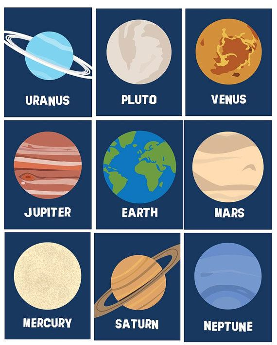Solar System Planets Wall Decor // Planets Wall Art Prints // Outer Space Wall Art// Nine Planets Nursery Decor 10-8x10 PRINTS ONLY Unframed