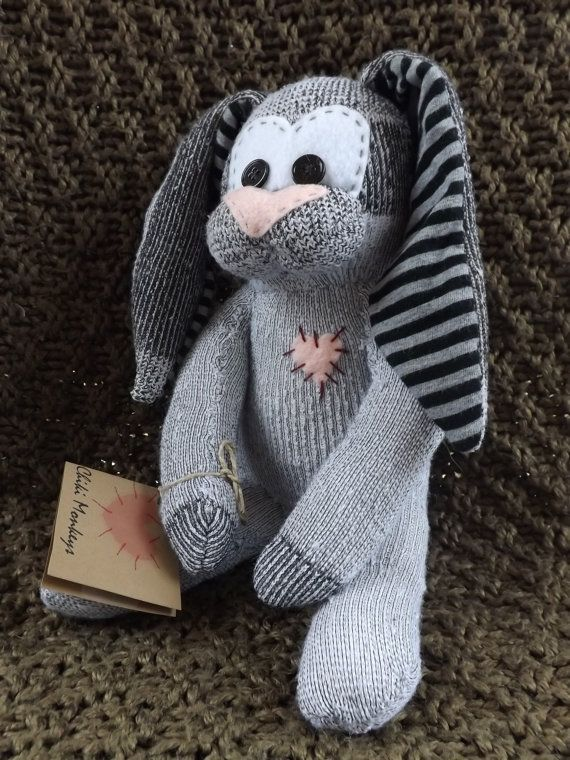Kendall is a hand stitched sock bunny. by ChikiMonkeys on Etsy