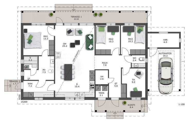 Tässä tilavassa ja toimivassa kodissa makuuhuoneet sijoittuvat avaran tupakeittiön ympärille, johon vino sisäkatto tuo tilantuntua. Vanhempien...