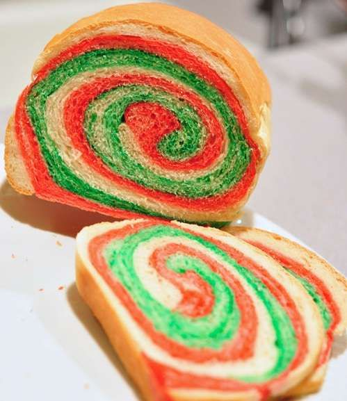 Color swirl sandwich bread #Christmas #Recipe #bread