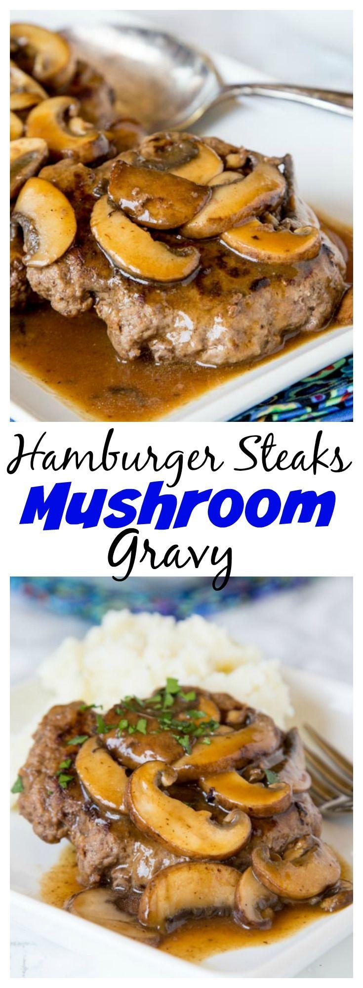 Hamburger Steaks with Mushroom Gravy -easy comfort food that won't break the bank! Rich mushroom gravy over tender hamburger steaks is a great weeknight dinner.