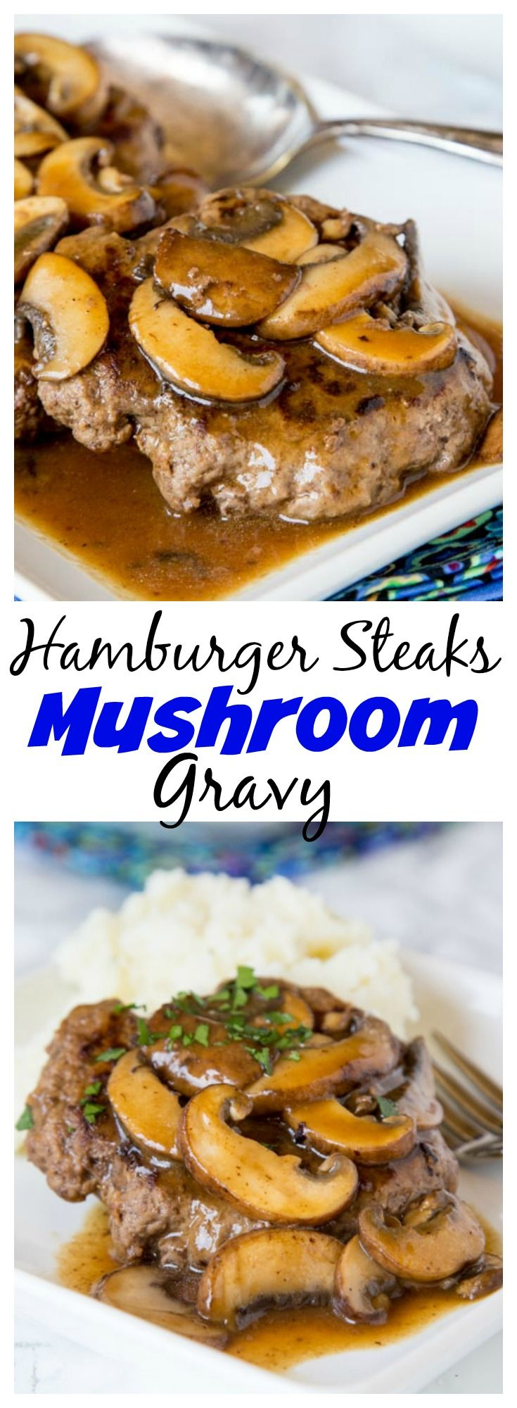 Hamburger Steaks with Mushroom Gravy -easy comfort food that won't break the bank! Rich mushroom gravy over tender hamburger steaks is a great weeknight dinner.