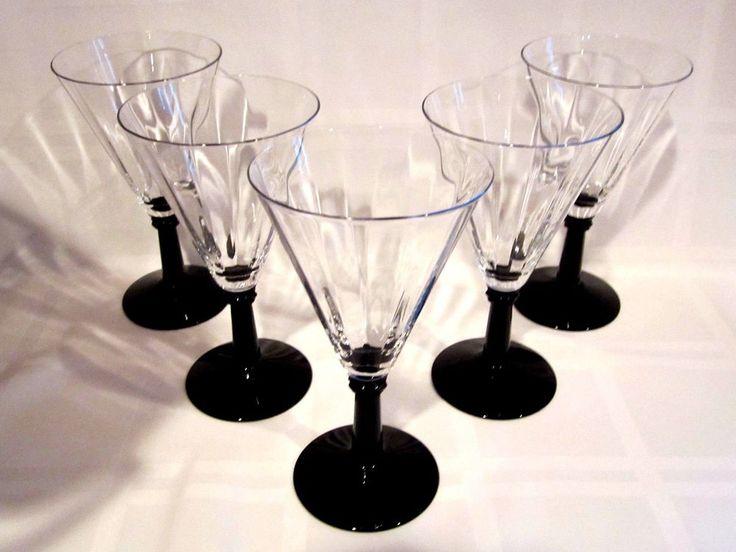Crystal Black Amethyst Stemmed Wine Glasses Vintage