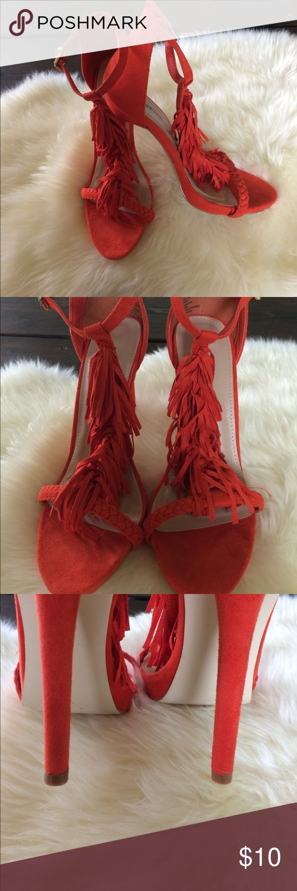"Fringe heels Reddish orange strappy heels with fringe detail. Great with a cocktail dress or jeans and a T. They have 4.5"" heel. They are a size 7.5 but run approx 1/2 size big. I love them but they are too big for me. 😕 JustFab Shoes Heels"