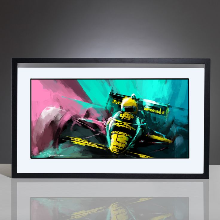 "This stunning digital artwork by Mike Kim captures Ayrton Senna Racing for Lotus-Renault.   The car jumps out off the wall with its iconic John Player Special sponsorship. Racing for Lotus in the 97T, Ayrton Senna finished fourth in the Championship..  Own this classic F1 artwork for your walls. Professionally framed in a matt black frame. The perfect addition to any home or office.  The framed artwork measures 66cmW x 36cmL (26"" x 14"")  &nbs..."