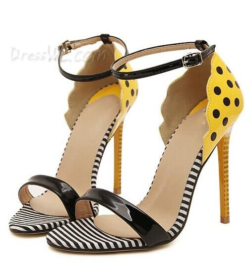 $33.79 Dresswe.com SUPPLIES Chic Popular Polka Dot Stripe Print Stiletto  Heel Sandals