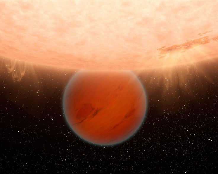 Frost and Fire - Gliese 436 b (Exoplanet) - In the constellation of Leo 33.1 light years away, a Neptune-sized planet orbits a red dwarf star at a distance of 4.3 million kilometres—15 times closer than Mercury is to our sun. It's no surprise that the planet, Gliese 436 b, has an incredibly hot surface temperature of 439 degrees Celsius, but it's definitely a surprise that the planet is also covered in ice. Since the boiling point of water is 100 degrees Celsuis,