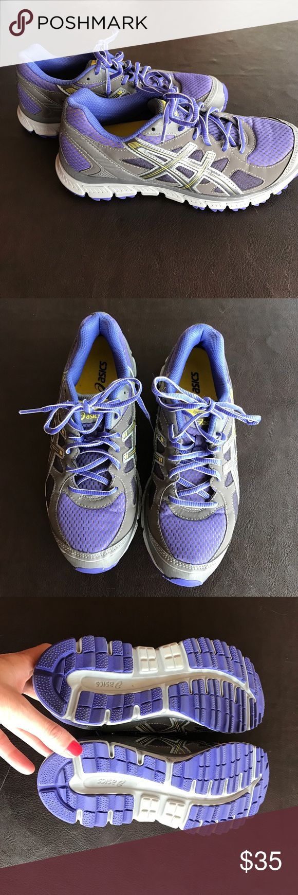 Asics tennis shoes Women's asic tennis shoes gel scram...gently used no tears or stains purple gray and yellow Asics Shoes Athletic Shoes