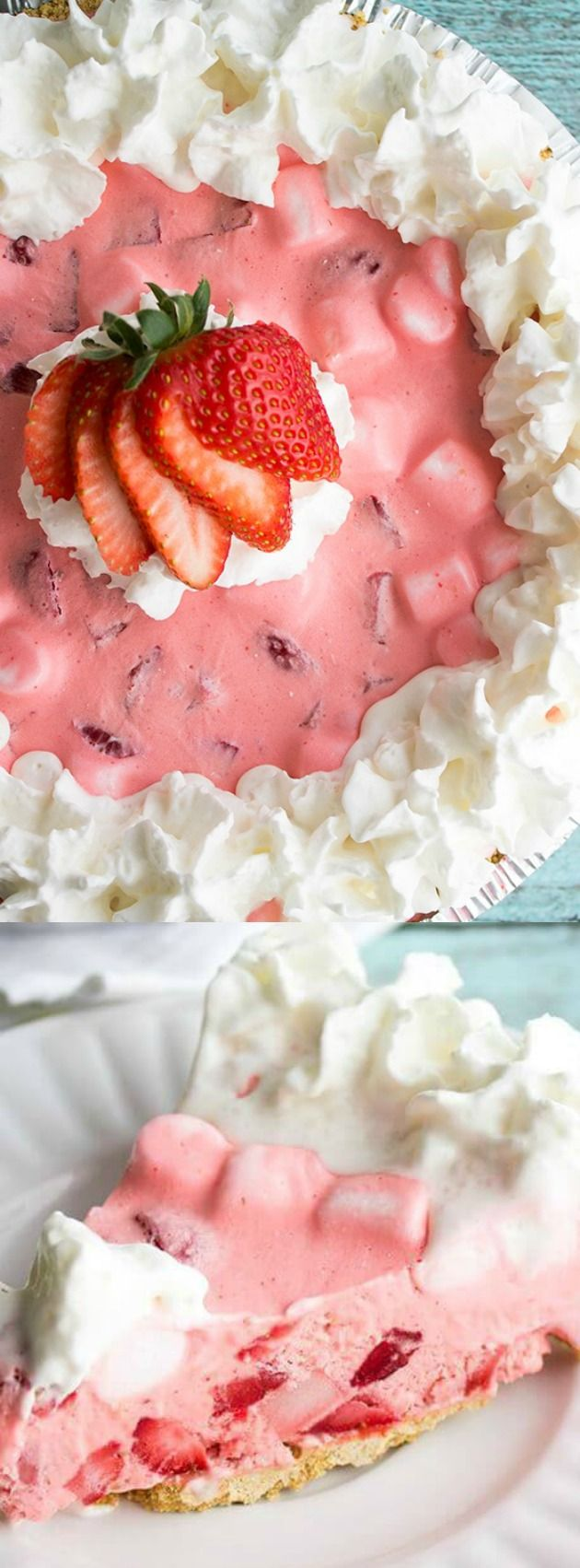This Strawberry Fluff Pie recipe from Bread Booze Bacon is a no-bake summer…