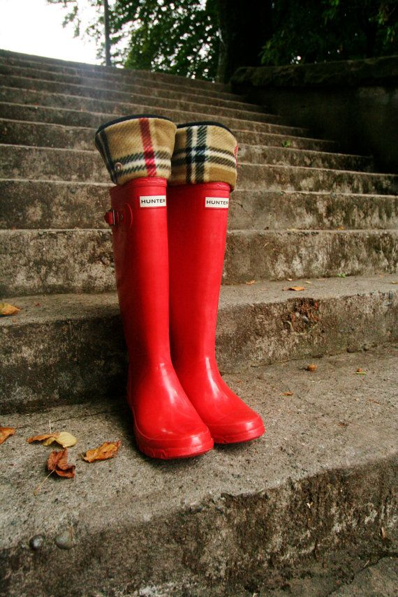 SLUGS Fleece Rain Boot Liners Black With A Classic Chic Plaid Cuff, Winter Fall Fashion, Wellington Boot Socks