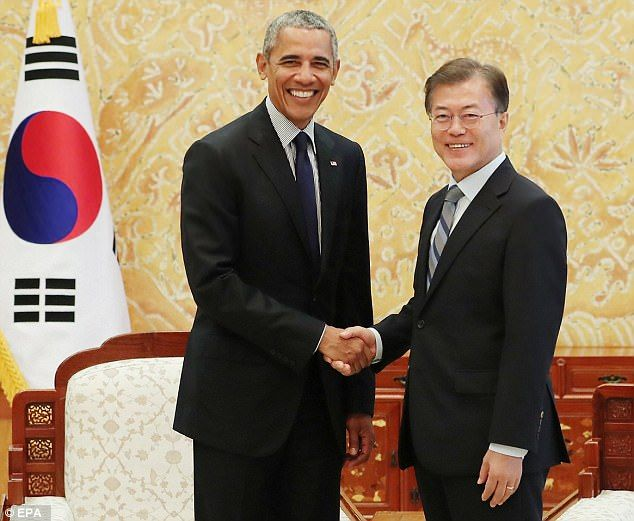 Obama is visiting South Korea this week to meet with President Moon Jae-in and speak at a ...