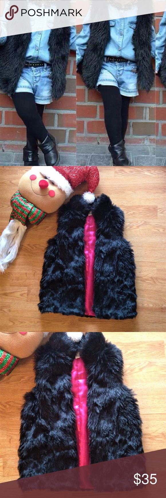Lands End Kids Black fur vest with Hot Pink lining Lands End Kids Girls Black fur vest with Hot Pink lining Size Large 6x-7 79% polyacryl 21% polyester Futter;100% polyester New with out tag  Pit/pit 14-16' Length 19 So cute and stylish Lands End Jackets & Coats Vests