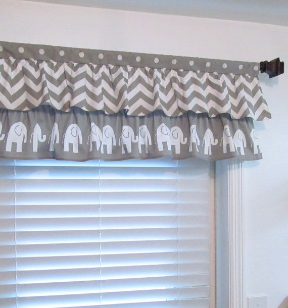 Two Tiered Ruffled Curtain Valance Gray White By Oldstation