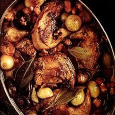 Braised Pheasant in madiera and white wine with bacon, shallots, and mushrooms