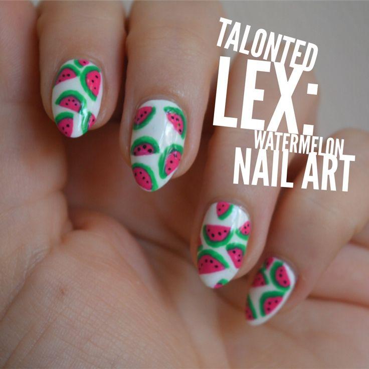 Handpainted watermelon nail art by Talonted Lex.