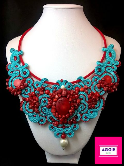 Turquoise soutache necklace with red coral