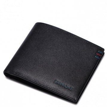 Najwyższej jakości krótki męski portfel skórzany Czarny