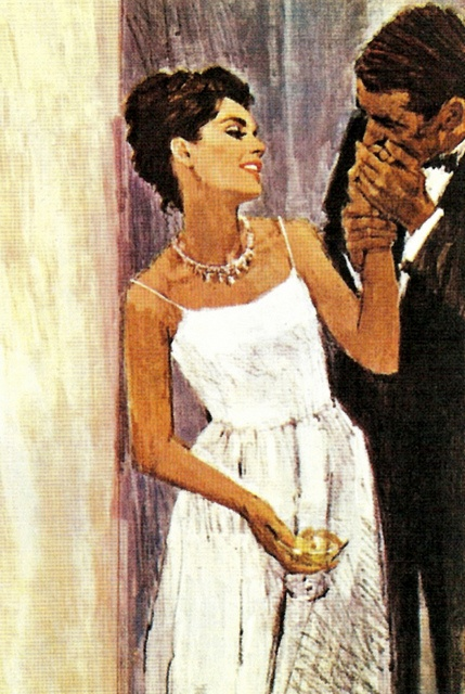 A kiss on the hand...illustration by Fred Oakley.