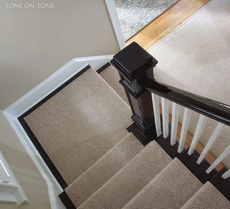 staircase runner Loi Thai Tone on Tone wool sisal black railing