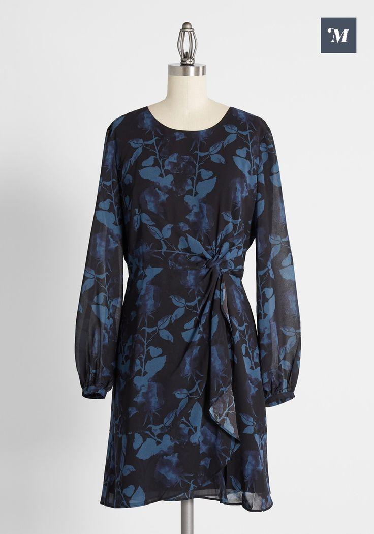 Vintage 1980/'s Red Blue Tile Print Long Puff Sleeve Belted Keyhole Midi Dress M