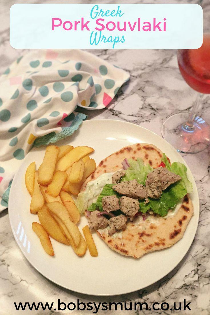 Easy Greek Pork Souvlaki Wraps. A brilliant, healthy fakeaway dinner. #Greek #greekfood #recipes #pork