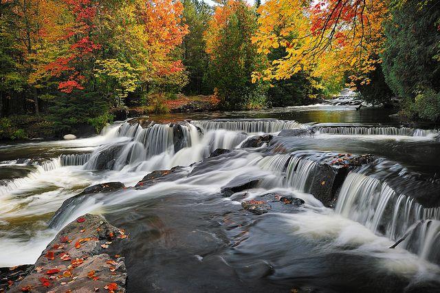 """Leaves on the Stream""  Bond Falls -  Paulding , Michigan by Michigan Nut, via Flickr"