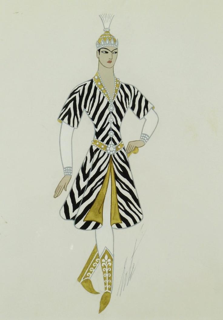 Erte Romain de Tirtoff (1892-1990 Russian/NY/France) ''Sheherazade Le Prince - Costume de Chasse''