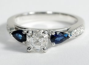 Pear Shape Sapphire and Pavé Diamond Engagement Ring in 14k White Gold