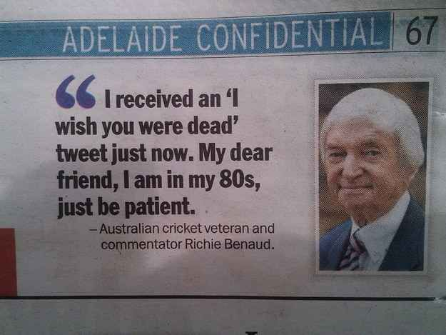 Or when they asked the great Richie Benaud how he wanted to respond to a troll. | 20 Times Australian Newspapers Forgot How To Newspaper