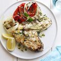 fish steaks with grilled fennel, red peppers, and onions