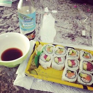 If you eat sushi, use Coconut Aminos instead of soy sauce. It tastes ...