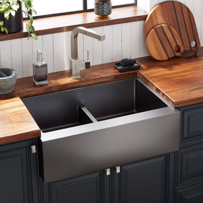36 Atlas 60 40 Offset Double Bowl Stainless Steel Farmhouse Sink Curved Apron Gunmetal Black Stainless Steel Farmhouse Sink Farmhouse Sink Kitchen Design