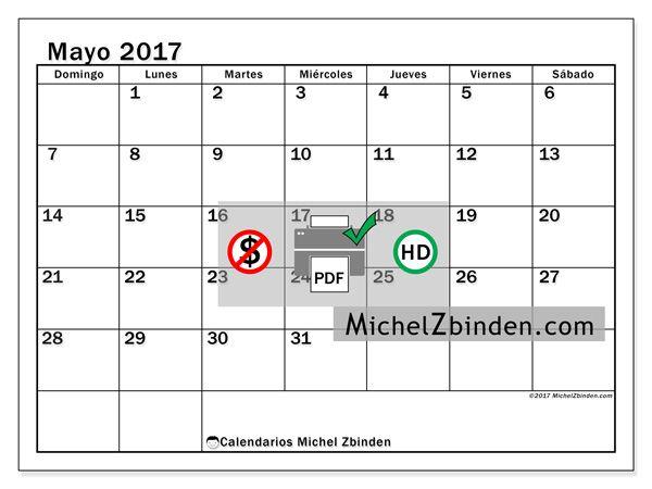 Calendario mayo 2017 - Tiberius