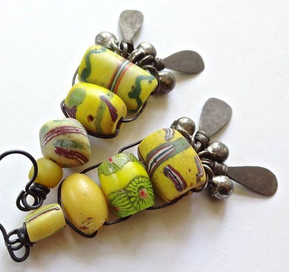African trade bead earrings