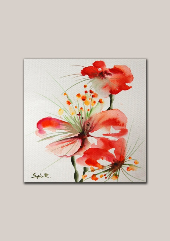 Original Watercolor Abstract Painting. Flower by SophieRR on Etsy, $43.00
