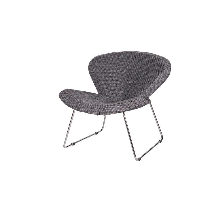 WOOOD fauteuil Vlinder grijs gestoffeerd